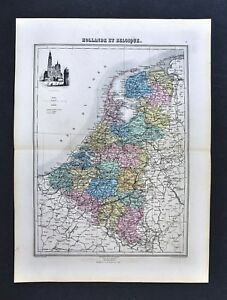 1877-Migeon-Map-Holland-Belgium-Netherlands-Amsterdam-Anvers-Cathedral-Vignette