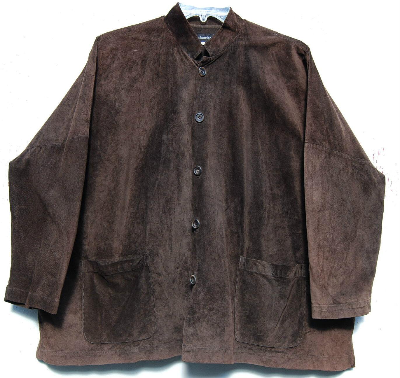 Eskandar oscuro  marrón gamuza cuero Mandarin Collar 32 pulgadas de largo ¡ Chaqueta Top (1)  2890  sorteos de estadio