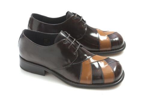 Ikon Zodiac Mens Brown Tan Leather Cross Shoes Retro Mod Rock 60S Lace Up