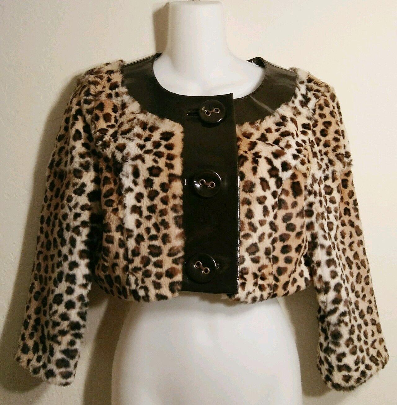 Bebe 100% Dyed Rabbit Fur Genuine Leather Leopard Print Crop Bolero Shrug Small