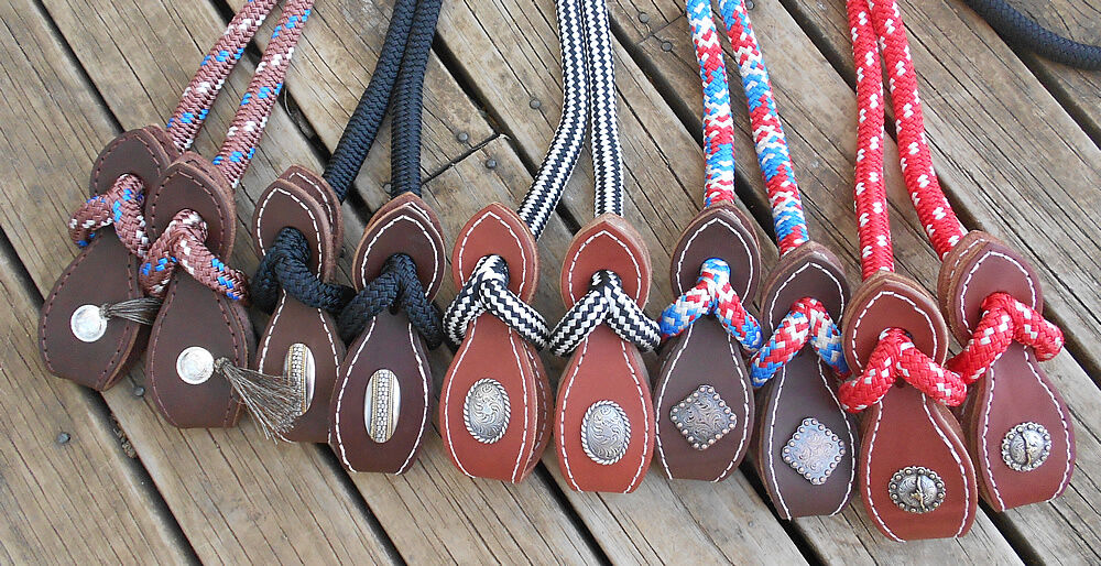 6FT HORSEMENS PERFORMANCE REINS with SLOBBER STRAPS and  CONCHOS  incredible discounts