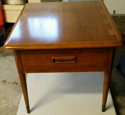 Mid Century Modern Lane Acclaim Dovetail Walnut End Table W Drawer Ebay