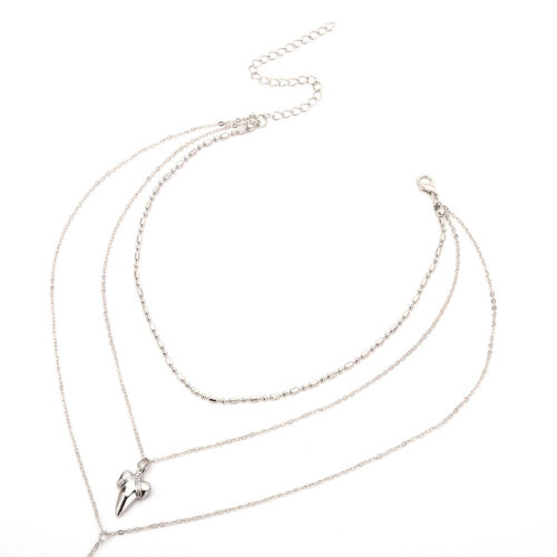 QA/_ LC/_ Women Multilayer Shark/'s Tooth Pattern Necklaces Chain Choker Jewelry