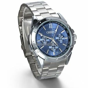 Men-039-s-Business-WristWatch-Luxury-Blue-Dial-Quartz-Watch-Stainless-Steel-Band-New