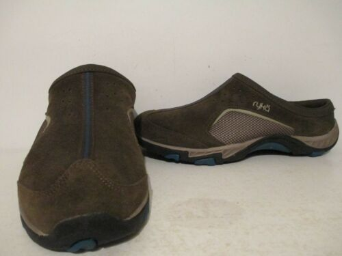 Ryka Womens Leather Fabric Slip On Outdoor Mule//Lo Casual Brown Teal 6.5-10 M