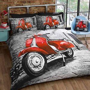 r tro trottinette simple housse de couette et taie d 39 oreiller set gris rouge ebay. Black Bedroom Furniture Sets. Home Design Ideas