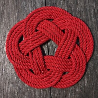 "Red Nautical Woven Trivet Sailor Knot 6.5"" Handmade Sailor Knot Turkshead"