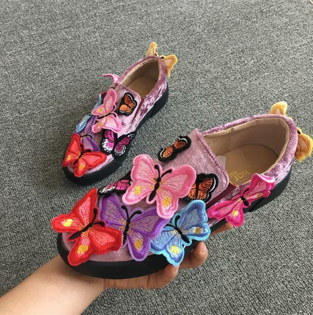 Women Embroidered Loafer Butterfly Sneakers Flat Glitter Casual Trainer shoes NW