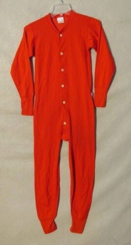V7013 Medalist Allen A Small Uni Red Full Body Pajamas Button Butt USA Made