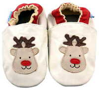 MINIFEET CHRISTMAS SOFT LEATHER BABY SHOES 0-6, 6-12, 12-18, 18-24 Mths REINDEER