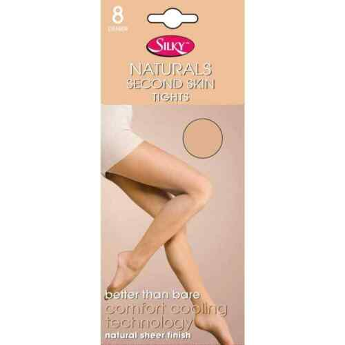 Silky 8 Denier Ladies Medium Size Naturals Second Skin Tights Black