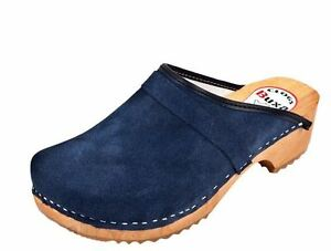 Women/'s Wooden leather clogs  Dark Blue color     Swedish style   US Shoe Size