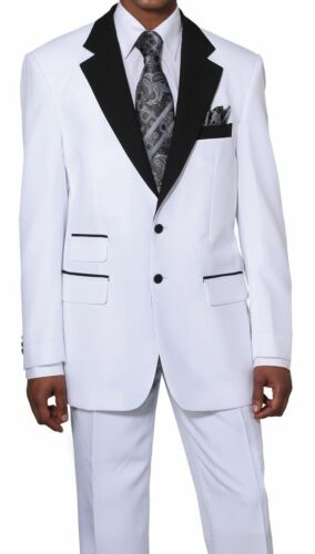 Men/'s Two Button Poplin Dacron Fashion Suit White//Black 2 tone All Sizes 7022