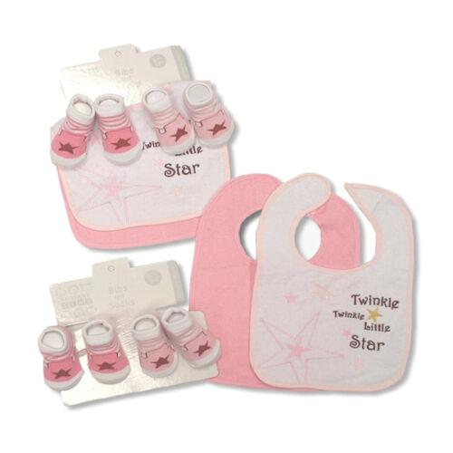 twinkle little star cotton socks /& bibs gift Twinkle
