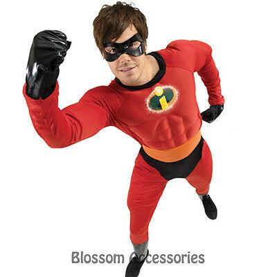 C652 The Incredibles - Mr Incredible Muscle Jumpsuit Superhero Adult Costume