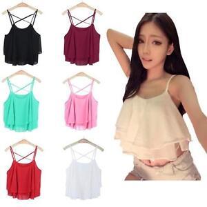Mujer-camisola-Irregular-verano-Correa-estampado-floral-chiffon-camisa-Camiseta