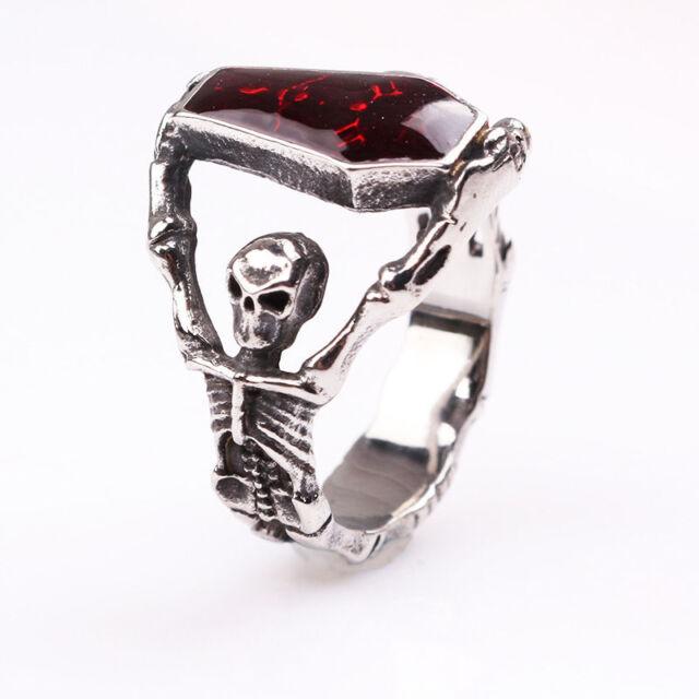 Fashion Cool Mens Gothic Vampire Skeleton Skull Bloody Red Enamel Coffin Ring
