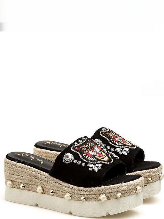 Sandalias zapatillas mujer zuecos negro Colorido Colorido Colorido cuña 7 cm mar cómodo 1176  wholesape barato