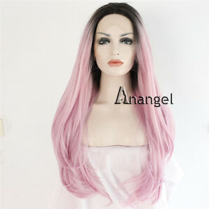 Synthetic Lace Front Wig Long Ombre Dark Roots Pink Straight Heat Resistant Hair