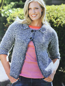 KNITTING-PATTERN-Ladies-Textured-Collared-Cardigan-Button-Debbie-Bliss-PATTERN