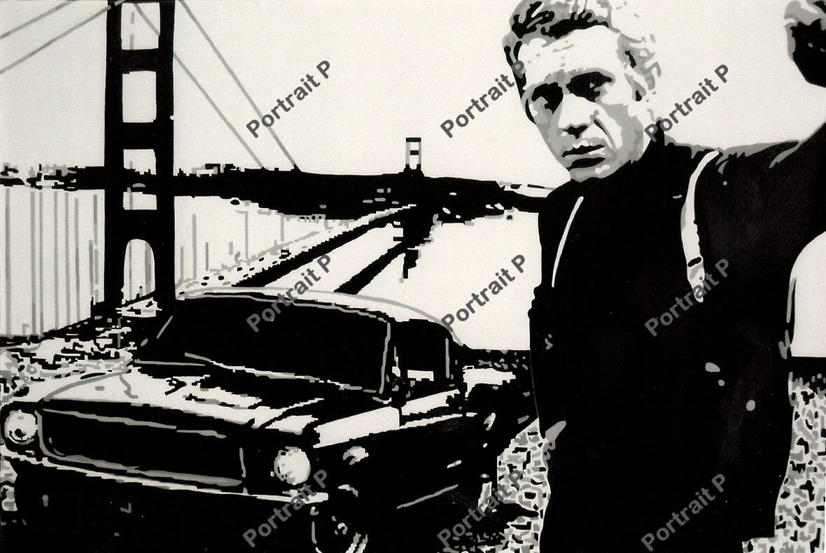 STEVE MCQUEEN FILM ICON ART PRINT POSTER OIL PAINTING LFF0193