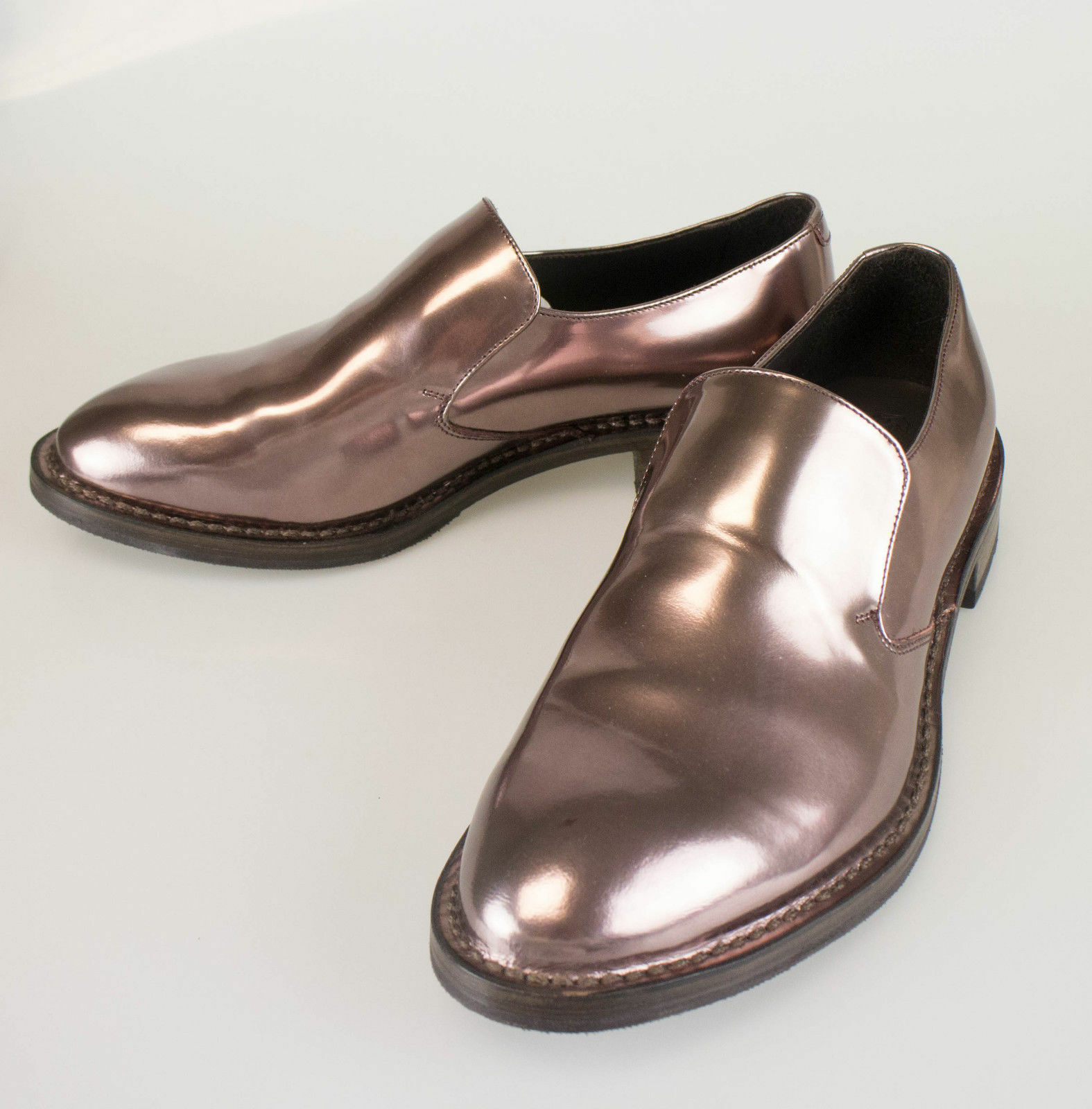 New. BRUNELLO CUCINELLI Brown Patent Leather Loafers Shoes Size 7.5/37.5  1170
