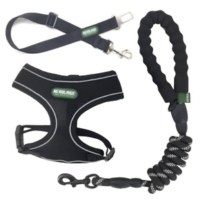 Heritage-Black-Rope-Dog-Lead-Leash-Mesh-Harness-And-Seat-Belt-Clip-Package-5ft