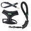 Heritage-Black-Rope-Dog-Lead-Leash-Mesh-Harness-And-Seat-Belt-Clip-Package-5ft thumbnail 1