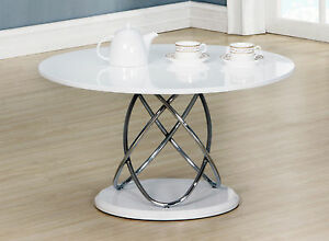 Image Is Loading Coffee Table White Gloss Round Top Chrome Spiral