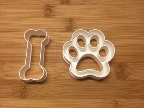 Dog Bone And Dog Paw Cookie Cutter Set of 2 Fondant Cutter Biscuit Pastry