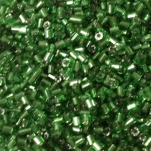 Green Silver-Lined 2-cut size 11//0 approx 2mm 50g glass HEX seed beads
