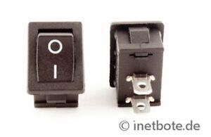 10-x-Wippentaster-Mini-Ein-Aus-1-x-Schliesser-2-Kontakte-1-polig-250-V-3-A-7010