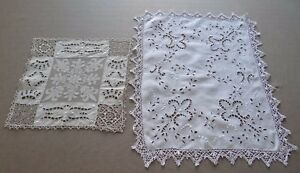 Vintage French 2 Table Runner Hand Embroidered Cutwork White Linen Fleur de Lys