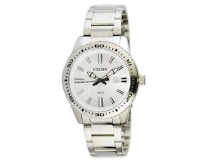Citizen-Men-039-s-Quartz-White-Dial-Silver-Tone-Bracelet-43mm-Watch-BI1060-52A