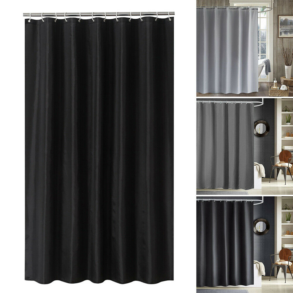 Waterproof Extra Long Fabric Shower Curtain With Hooks Weighted Hem 180x200cm For Sale Online