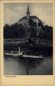Tetschen-D-in-Tschechien-1910-Schloss-Tetschen-von-der-Elbe-Schiff-Raddampfer