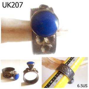 Antiques Near Eastern Rapture Old Kuchi Nomadic Lapis Silver Mix Filigree Ring Size 6.5 #uk207a