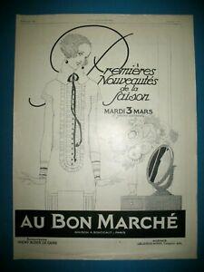 PUBLICITE-DE-PRESSE-AU-BON-MARCHe-NOUVEAUTeS-SAISON-ILLUSTRATION-R-VINCENT-1925
