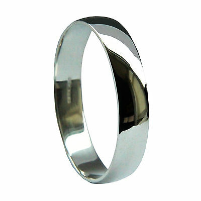 Begeistert 4mm 9ct White Gold D Shape Wedding Rings Profile 375 Uk Hallmarked 2.7/3.4g