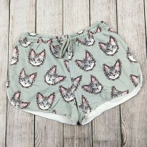 Markus Lupfer Shorts Womens Large Gray Cat Face Pr