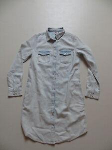 Levi-039-s-Jeans-Hemd-Kleid-Gr-S-TOP-lange-Jeansbluse-mit-seitlichen-Taschen