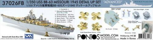 Pontos Models 1//350 BB-63 Advanced Set w//20B Blue Deck for Tamiya #78008//78018