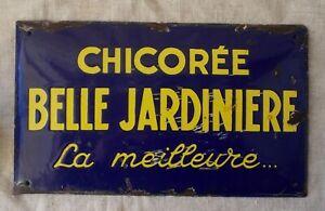 RARE-ANCIENNE-PLAQUE-EMAILLEE-PUBLICITAIRE-CHICOREE-LA-BELLE-JARDINIERE