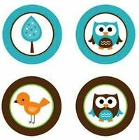 Baby Owls Boy {blue & Brown} Edible Cupcake Toppers Decoration