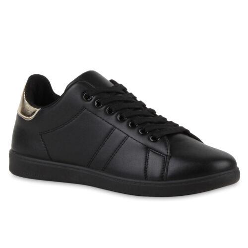 Sportliche Damen Sneakers Low Turnschuhe Flats Schnürer 810769 Retro Top