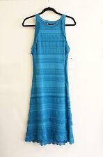 ROBERTO CAVALLI Turquoise Knit / Crochet Sweater Dress Sz 48 or M NWT $1595