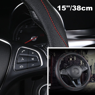 Black PU leather 15/'/' 38cm Car Auto Steering Wheel Cover All Seasons Durable