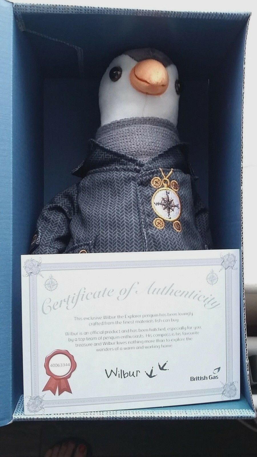 Wilbur the British Gas Penguin soft toy, brand new in box with certificate