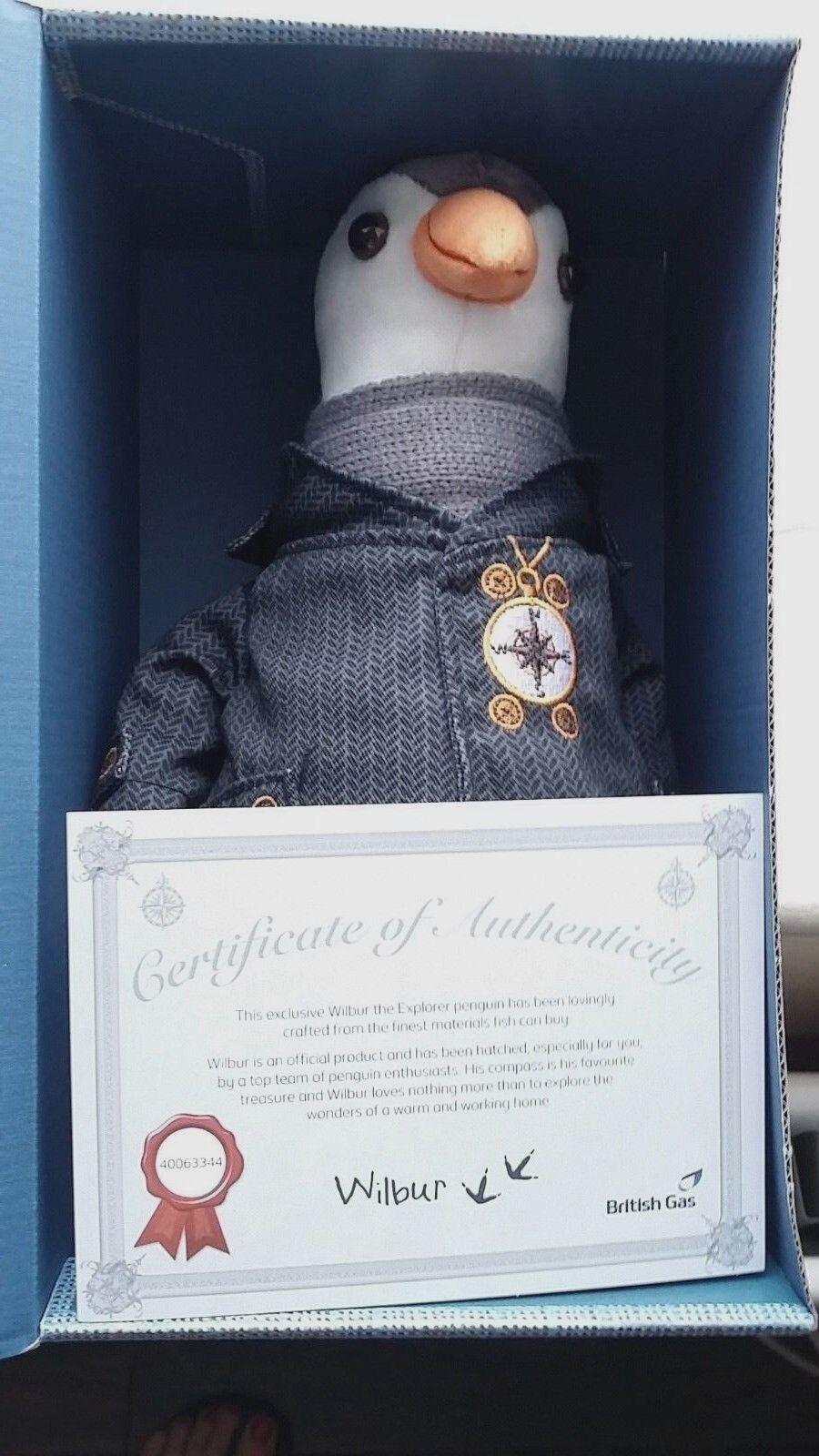 Wilbur il British GAS, Pinguino giocattolo morbido, nella casella Nuovo di zecca con certificato