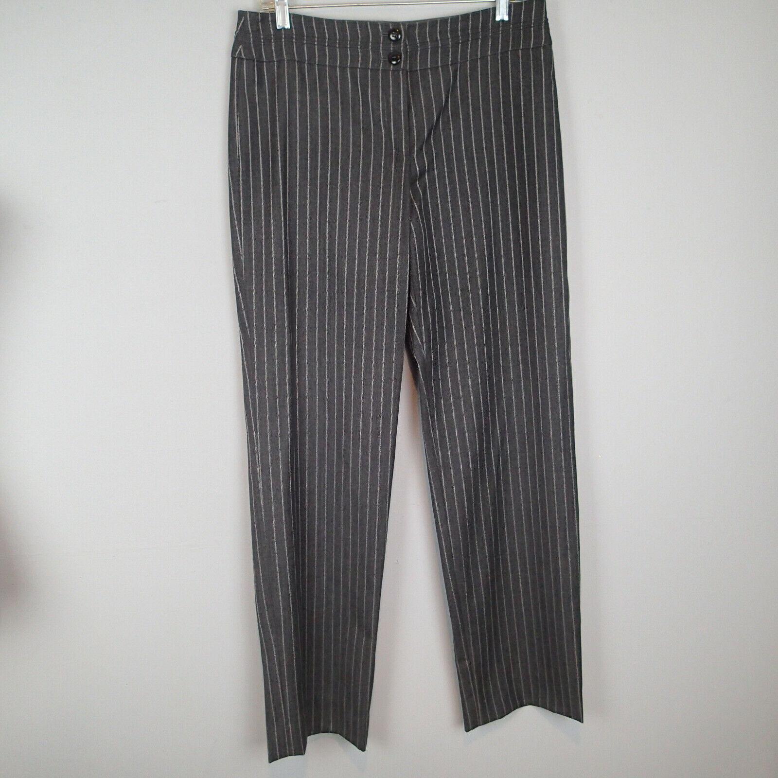 ARMANI COLLEZIONI Ladies Grey charcoal stripes Trousers sz 46 wool silk bl h